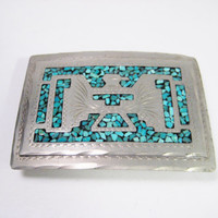 Wil-Aren Originals Turquoise & Silver Thunderbird Belt Buckle Native American
