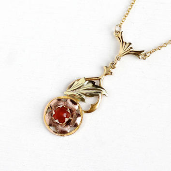 Vintage Yellow , Rose & Green 12k Gold Filled Carnelian Pendant Necklace - Vintage 1930s Art Deco Red Gem Floral Lavalier Three Tone Jewelry