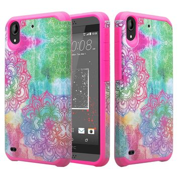 HTC Desire 555 Case, Desire 555 Slim Hybrid Dual Layer[Shock Resistant] Case for Desire 555 - Teal Flower