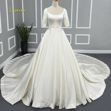 Loverxu Robe De Mariee Simple Half Sleeve A Line Wedding Dresses 2017 Scalloped Applique Detachable Train Bridal Gown Plus Size