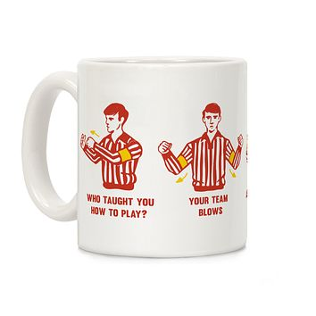 Funny Referee Hand Signals Ceramic Coffee Mug by LookHUMAN