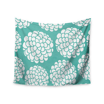 "Pom Graphic Design ""Hydrangea's Blossoms"" Teal Circles Wall Tapestry"