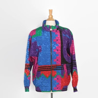 Vintage 80s BOMBER Jacket / 1980s Oversized Multicolored Geometric Metallic Print Jacket L