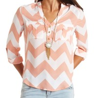 CHEVRON PRINT CHIFFON BUTTON-UP TOP