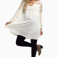 Ivory-Lace-Top-Linen-Maternity-Tunic