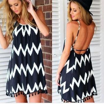 Sexy Ladys Aztec Striped Print Backless Chiffon Loose Dress Beachwear Bikini Cover Ups = 1905921348