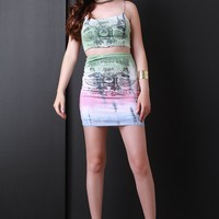 Motorcycles Graphic Tie Dye Jersey Knit Matching Set
