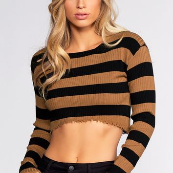 Owen Crop Sweater - Black/Mocha