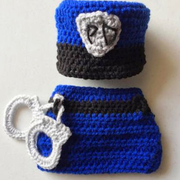 Crochet Police Man Photo Prop - Police Man Photo Prop - Baby Outfit - Diaper Cover - Police Man Baby Set - Police Wife - costume - Newborn