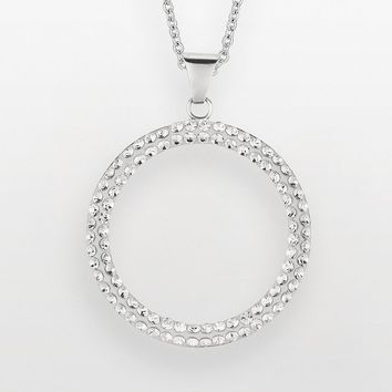 Sterling Silver Crystal Circle Pendant - Made with Swarovski Ele fbf1af18b3