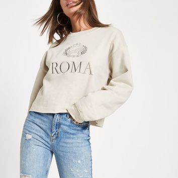 Beige 'Roma' print embroided sweatshirt - Hoodies / Sweatshirts - Tops - women