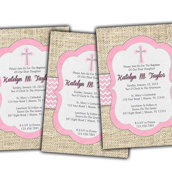 Baby Pink Burlap Chevron Baptism Invitation - Girl Christening - Girl Communion Invitations - Rose - Rustic - Country Spanish Baptism Invite