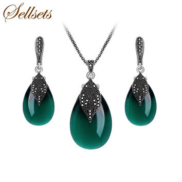 Women Fashion Natural Stone Jewlery Set Vintage Black Crystal And Green Opal Leaf Pendant Necklace And Earrings Set