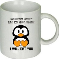 Cute Penguin I May Look Cute and Sweet White Ceramic Coffee Cup [Kitchen]