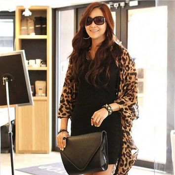 Summer Chiffon Shirt Women Fashion Lady Leopard Print Shirts Batwing Sleeve Blouse Cape Cardigan Tops Shawl Cover Up Beach Oct19