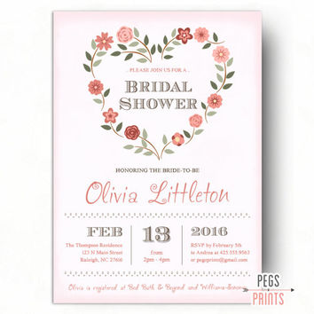 Valentine Bridal Shower Invitation - Floral Bridal Shower Invitation - Valentines Day Bridal Shower Invites - Heart Wreath Bridal Shower