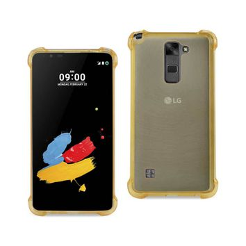 LG Stylus 2 Clear Bumper Case With Air Cushion Protection (Clear Gold)