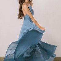 Emma Slate Flowy Maxi Dress