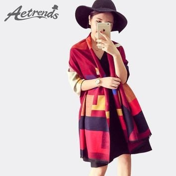 [aetrends] Luxury Brand Scarf Women Plaid Cashmere Scarves Cape Pashmina Z 1661