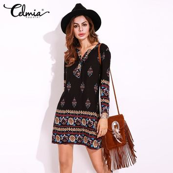 2017 Women Boho Mini Dress Plus Size Ethnic V Neck Long Sleeve Floral Print Sexy Short Elegant Retro Shirt Dress Vestidos 5XL