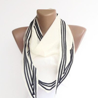 black and white stripe scarf , super girly , spring summer accessory for her , womens fashion scarves , gifts for her NEW