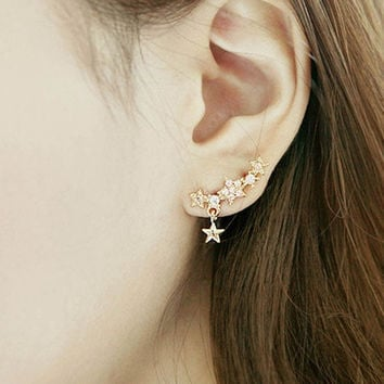 1 Pair Korea Style Gold Plated Alloy Simply Rhinestone Star Ear Stud Earrings = 1706056644
