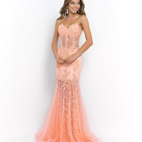 Coral Pink Strapless Beaded Lace Sheer Illusion Corset Dress