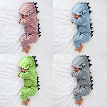 Newborn Infant Baby rompers Boy Girl christmas Dinosaur Hooded Romper Jumpsuit Outfits Clothes roupas de bebe #XTT