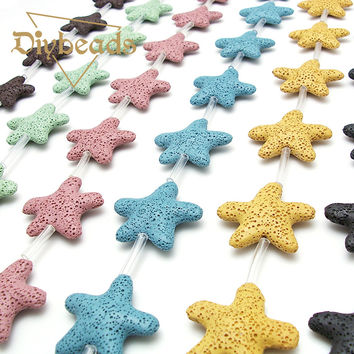 Multicolor Star Lava beads Volcanic Rock Loose bead 23/40mm Charm Natural Stone beads for jewelry Bracelet making Handmade/Diy
