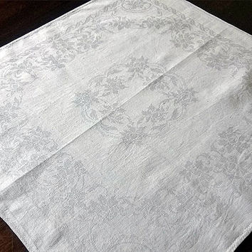 Jacquard linen napkin Vintage beautiful doily Embroidered letters Monogram satin stitch Rose floral pattern Table top decor Housewares table