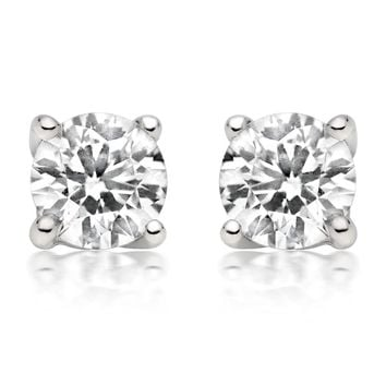 JewelMore 1/4ct tw Diamond Stud Earring in 14k White Gold