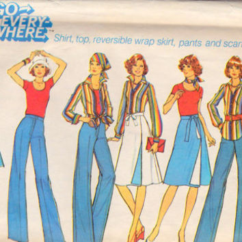 "1970s  Misses' shirt, top, reversible wrap skirt, pants and scarf Vintage Sewing Pattern Simplicity 7391 bust 36"" uncut"