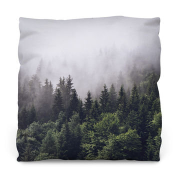 Misty Forest Outdoor Throw Pillow