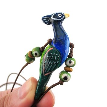 Handmade Blue Peacock Bird Shaped Hand Painted Whistle Pendant Necklace | DOTOLY
