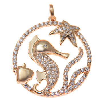 ROSE GOLD SILVER 925 BLING CZ HAWAIIAN STARFISH SEAHORSE SHELL CIRCLE PENDANT