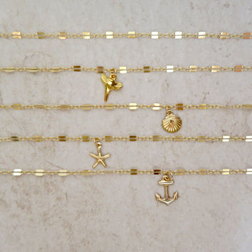 Gold Chain Choker, Small Dainty Charms, Hawaii Beach Jewelry, Layering Necklaces, Elegant, Christmas Gift Idea, Adjustable Necklace, Boho