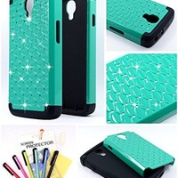 Thousand Eight(TM) For LG Volt LS740 Diamond Studded Silicone Rubber Skin Hard Case + [FREE LCD Screen Protector Shield(Ultra Clear)+Touch Screen Stylus] (Diamond teal)