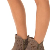 Taupe Faux Leather Ankle Boot with Cut Out Design