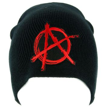 ac spbest Red Anarchy Sign Beanie Knit Cap Alternative Clothing Punk Rock