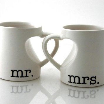 Mr & Mrs. Mug Set For Couples Bride And Groom Wedding Anniversary Gift Hearts