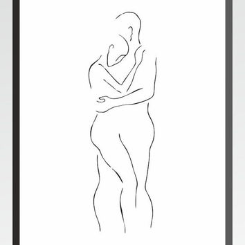 Minimalist figure sketch of a man and woman holding each other. Art print for bedroom decor.