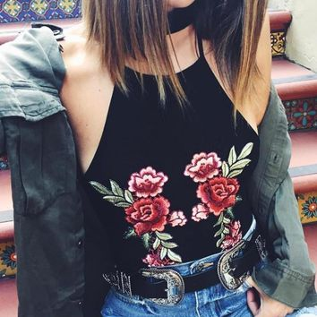 Beach Bralette Comfortable Hot Sexy Stylish Backless Summer Embroidery Spaghetti Strap Vest [10203224199]