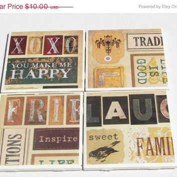 ON SALE Christmas in July SALE Friends & Laughter Coasters in Gameroom Theme --- (4)