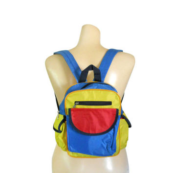 Small Backpack Purse 90s Backpack Purse Little Backpack Yellow Backpack Red Backpack Vegan Backpack Wallet Pocketbook Little Bag Colorblock
