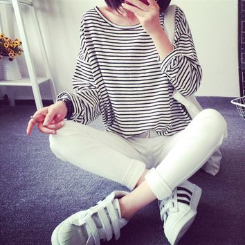 2019 Autumn Women Striped T-shirt Casual commuter female T-shirt long-sleeved T-shirt loose round neck women's clothing Pullover