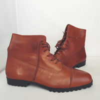 Vintage  Topazio Brown Leather Lace Up Ankle Boots Womens Size 8.5