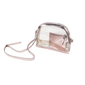 Clear Half Moon Crossbody  | Rose Gold