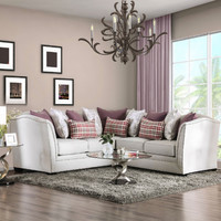 Furniture of america SM2677 2 pc Kizzy beige chenille fabric sectional sofa set with nail head trim