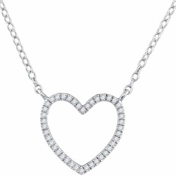 10kt White Gold Women's Round Diamond Heart Love Pendant Necklace 1-10 Cttw - FREE Shipping (US/CAN)