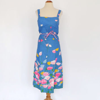 Sz Large Tulip Baroo Dress Vintage 70s does 1950s Dress Blue Floral Cotton Sundress Picnic Dress Bridesmaid Tea Dress Full Skirt Rockabilly
